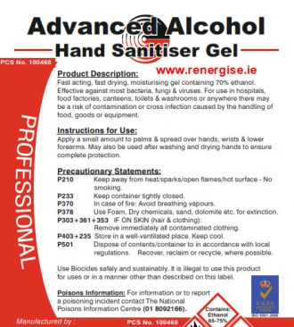alcohol hand sanitizer gel
