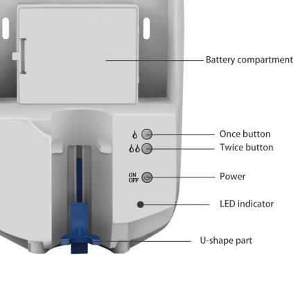 hand sanitiser dispenser inside controls